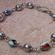 SALE Lovely Sterling Bead and Art Glass Bead Bracelet