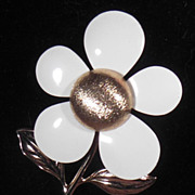 Gold Tone and White Enamel Petal Flower Pin Sarah Coventry