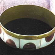 Vintage Brass and Mother of Pearl Bangle Bracelet