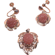 Coppertone Lucite Stones with Gold Flecks Pendant and Earring Set