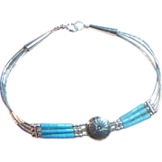 Delicate Sterling and Turquoise Bracelet