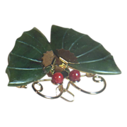 Jade Dynasty Collection Gold Tone Jade and Coral Butterfly Pin or Pendant in Original Red Silk