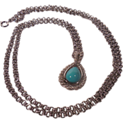 Avon Faux Turquoise Tear Drop Stone Pendant Frosty Silver Tone Rope Setting Long Adjustable Ch