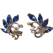 Lovely Dark Blue and Clear Rhinestones Silver Tone Clip On Earrings