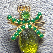 SALE Green Rhinestone and Large Green Crackle Stone Bug Pin