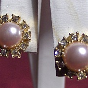 SALE Lovely Faux Pearl, Rhinestone and Gold Tone Clip On Earrings