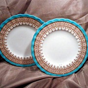 """SALE Two 6"""" Royal Worcester Blue, Gold & White Plates"""