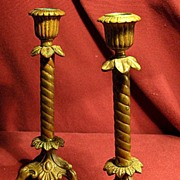 Matching Pair of Ornate Metal Victorian Era Candlesticks