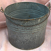 SALE Mottled Gray Graniteware Bail Handle Pail or Bucket