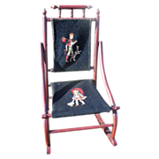 Victorian Bent Wood and Needlepoint Child's Rocking Chair