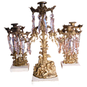 SALE Antique Brass and Crystal Girandole 3 Piece Mantle Candle Holders