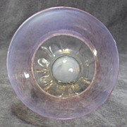 SALE Early Venetian Pink Iridescent Art Glass Footed Bowl