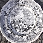 SALE 19th Century Black Transfer Ware Plate Pastoral RS
