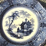 SALE 19th Century Tillenberg & Clementson Dark Blue Transfer Ware Plate