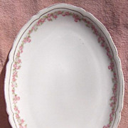 "Vienna Austria Porcelain Pink and White Flowers 12"" Oval Serving Platter"
