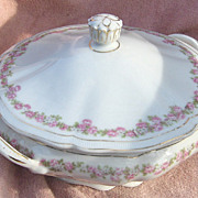 Vienna Austria Porcelain Pink and White Flowers Handled Round Covered Vegetable Bowl or ...
