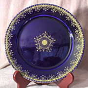 """SALE Cobalt Blue and Gold 8 ½"""" German Plate"""