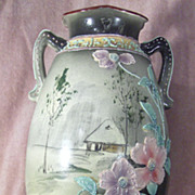SALE Hand Painted Nippon Green Mark ECO Moriage Vase