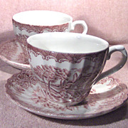 Churchill Cup and Saucer in the Brook Pattern in Pink