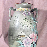 Hand Painted Nippon Green Mark ECO Moriage Vase