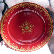 """SALE Deep Red and Gold 8 ½"""" German Plate"""