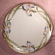 KPM Germany Pierced Handled Hand Painted Iris Cake Plate Signed W. Wilson