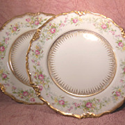 Set of 8 Charles Ahrenfeldt Limoges Depose Pink Rose Dinner Plates Made for Bailey Banks and B
