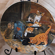 """SALE """"Die Spielkameraden"""" or """"The Playmates"""" Cat Collector Plate by Wolfgang Kaiser"""