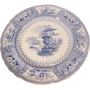 Blue Staffordshire Transferware Plate Canova Pattern