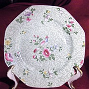"""Pretty Octagonal  8"""" Green Floral Wessex Plate by F. Winkle & Co."""