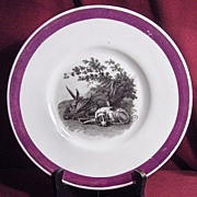 Early 19th Century Pink Luster Plate Sleeping Dog with Game Birds