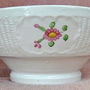 Hand Painted Floral Soft Paste Basket Weave Waste Bowl
