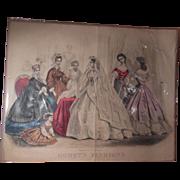 Godey's 19th Century American Civil War Era Wedding Fashion Print