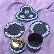 Black Wedgwood Jasperware Cigarette Lighter, Holder, and Ashtray Set