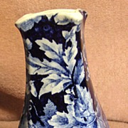 Rörstrand Blue and White Floral Vase Druva Pattern