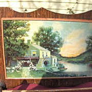 SALE Early Wood and Glass Pictorial Kitchen Towel Holder