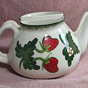 Pair of Hand Painted Pottery Strawberry Teapot Wall Pockets