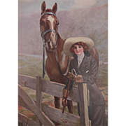 W. Haskell Coffin Calendar Print Prize Winners Young Woman and Horse 1917 Lewis S. Fell ...
