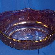 Amethyst Flashed Delaware Pattern Glass Fruit or Banana Bowl