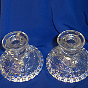 Pair of Anchor Hocking Pressed Glass Candlesticks or Candleholders