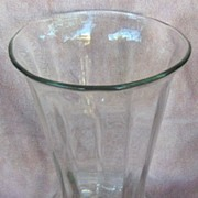 Tall Ribbed Clear Glass Vase