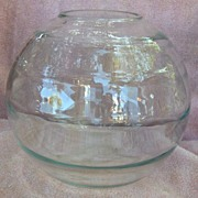 SALE Large Ribbed Clear Glass Rose Bowl or Vase