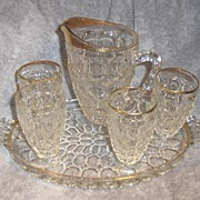 SALE Jeannette Thumbprint Pattern Glass Pitcher and Glasses with Tray