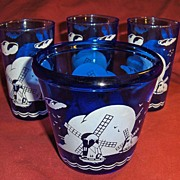 Hazel Atlas Glass Blue Windmill Ice Pail or Bucket and Three Glasses