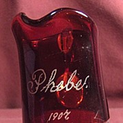 SALE 1907 Ruby Flash Glass Souvenir Pitcher or Creamer Engraved Phebe