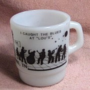 "I Caught the Blues at ""Lou's"" Advertising Milk Glass Mug"