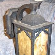 Arts and Crafts Period Caramel Slag Glass and Metal Porch Light