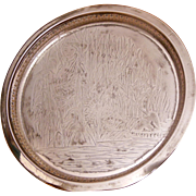 "Rockford Quadruple Silver Plate 10"" Round Tray Moses in the Rushes Pattern 415 Circa 1910"