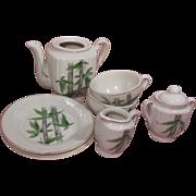 7 Piece Grantcrest Porcelain Children's Tea Set Bamboo Pattern