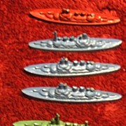 SALE Seven Miniature Metal Tootsie Toy Battle Ships